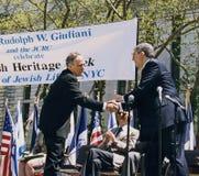 Alcalde Rudy Giuliani y Marvin Hamlisch Imágenes de archivo libres de regalías