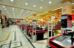 Alcampo超级市场内部,巴塞罗那 免版税库存图片