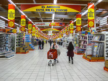 Alcampo supermarket in fuenlabrada. FUENLABRADA, MADRID, SPAIN - FEBRUARY 13, 2016: People Shopping for diverse products in Alcampo supermarket. Alcampo is a Stock Image