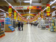 Alcampo supermarket in fuenlabrada. FUENLABRADA, MADRID, SPAIN - FEBRUARY 13, 2016: People Shopping for diverse products in Alcampo supermarket. Alcampo is a Royalty Free Stock Images