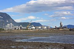 Alcan smelter in Kitimat, BC. View of the Alcan Aluminum smelter from the beach Stock Photography