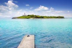Alcanada Alcudia Mallorca with Aucanada island. And lighthouse Balearic Spain Royalty Free Stock Images