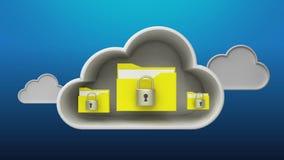 Alcance a animação do serviço de segurança da nuvem ilustração stock