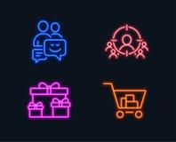 Alcance del negocio, cajas de la sorpresa e iconos de la comunicación Muestra de las compras del Internet libre illustration