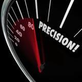 Alcance perfecto del objetivo de la exactitud del velocímetro de la palabra de la precisión Imagen de archivo libre de regalías