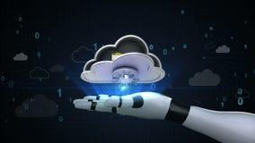 Alcance a segurança de arquivo da nuvem, cofre forte aberto da nuvem destrave o dobrador na palma do cyborg do robô, mão, braço d ilustração royalty free