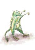 Alcances de la pata del dinosaurio para los abrazos stock de ilustración