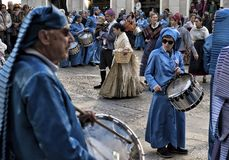 Easter week celebrations in Teruel, Spain. Alcaniz, Teruel, Spain - March 30: Easter week celebrations, the sound of drums can be heard in every corner of these royalty free stock photography