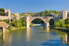 The Alcantara Bridge in Toledo Stock Photography