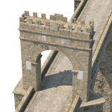 Alcantara Bridge on white. 3D illustration, clipping path Royalty Free Stock Photography