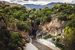 Alcantara Gorge and Alcantara river park in Sicily Island, Italy. Gole Alcantara Botanical and Geological Park.  stock photo