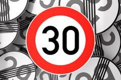 Alcanzando el trigésimo cumpleaños ilustrado con las señales de tráfico stock de ilustración