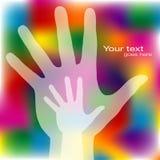 Alcanzar diseño de las manos. Foto de archivo