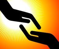 Alcanzar la mano Foto de archivo libre de regalías