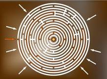 Alcanzar la meta en el laberinto, marrón Fotografía de archivo libre de regalías