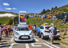 Alcatel One Touch Car in Pyrenees Mountains Royalty Free Stock Image