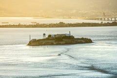 Alcatraz历史的著名监狱在旧金山湾加利福尼亚 图库摄影