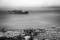 Alcatraz和码头39 图库摄影
