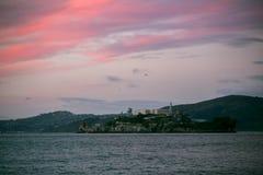 Alcatraz на заходе солнца Стоковые Фото