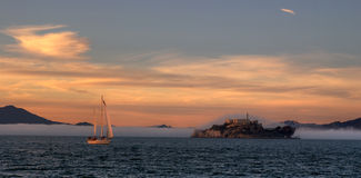 Alcatraz. Sunset in Alcatraz with fog Stock Photography
