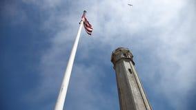 Alcatraz American flag stock footage