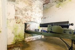 Alcatraz cannon, San Francisco, California. A cannon inside Alcatraz Penitentiary island, now a museum, in San Francisco, California, USA. A view of the old Stock Images