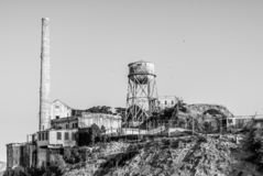 Alcatraz Chimney and Water Tower in the evening light stock photo