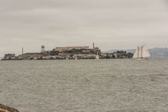 Alcatraz in a cloudy day. A view of Alcatraz in a cloudy day from San Francisco Stock Photo