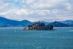 Alcatraz con Marin en fondo Fotografía de archivo