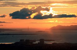 Alcatraz & Golden Gate at Dusk Royalty Free Stock Photography