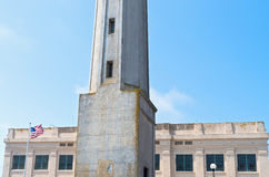 Alcatraz-Insel-Leuchtturm und Gefängnis Stockfotografie
