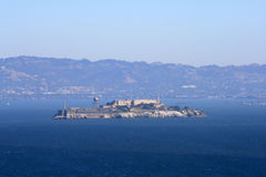 Alcatraz Island. View of Alcatraz Island from the Golden Gate Bridge.  Located in San Francisco California Royalty Free Stock Photos
