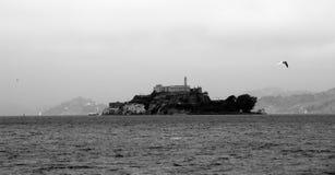 Alcatraz island. B&W photo of Alcatraz in San Francisco bay Stock Images