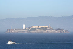 Alcatraz Island in fog Royalty Free Stock Photos