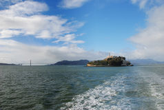 Alcatraz Island And Golden Gate Bridge. From a boat Royalty Free Stock Photography