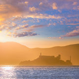 Alcatraz island penitentiary at sunset backlight in san Francisc Stock Photo
