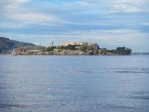 Alcatraz Island and Prison in San Francisco Bay. Daytime view from across San Francisco Bay of Alcatraz Island and Prison, California, USA Stock Images