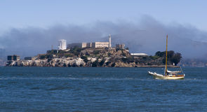 Alcatraz Island Prison Sailboat Water San Francisc Royalty Free Stock Images