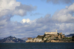 Alcatraz island in San Francisco. Bay, California with former prison ruins Royalty Free Stock Images