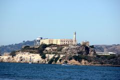 Alcatraz Island in San Francisco Bay with boats, ships in background, California, USA Stock Images