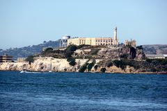 Alcatraz Island in San Francisco Bay with boats, ships in background, California, USA Royalty Free Stock Photos