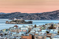 Alcatraz Island in San Francisco Bay at Sunset Stock Photos