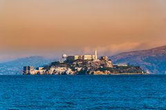 Alcatraz Island, San Francisco, California. Facilities for a lighthouse, a military fortification, a military prison Stock Images