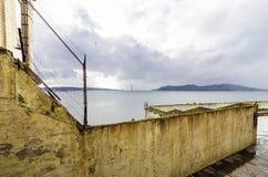 Alcatraz island, San Francisco, California. The Recreation Yard on Alcatraz Penitentiary island, now a museum, in San Francisco, California, USA. A view of the Stock Photo