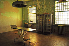 Alcatraz Island, prison, infirmary, stretcher, interior, San Francisco, California, United States of America, Usa. A stretcher in the infirmary of the former Royalty Free Stock Photography