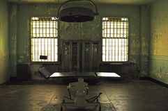 Alcatraz Island, prison, infirmary, stretcher, interior, San Francisco, California, United States of America, Usa. A stretcher in the infirmary of the former Stock Photo