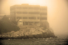 Alcatraz Island in San Francisco during the huge fog Royalty Free Stock Image
