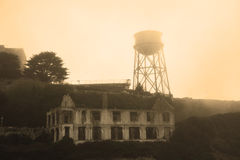 Alcatraz Island in San Francisco during the huge fog Royalty Free Stock Photography