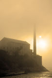 Alcatraz Island in San Francisco during the huge fog Stock Photo