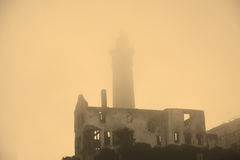 Alcatraz Island in San Francisco during the huge fog Stock Photos